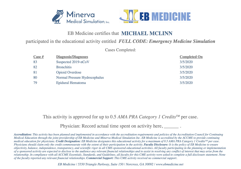 Full Code CME Certificate